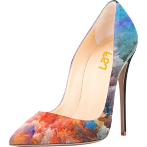 57989c5dac98 Pointed Toe Floral Heels Clouds Printed Stiletto Heel Pumps ...