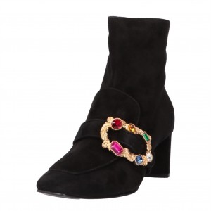 Colorful Rhinestone Buckle Black Suede Chunky Heels Ankle Booties