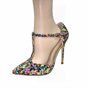 Colorful T Strap Pumps Pointy Toe Stiletto Heels