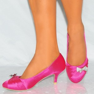 Hot Pink Satin Low Heel Wedding Shoes Round Toe Bow Pumps