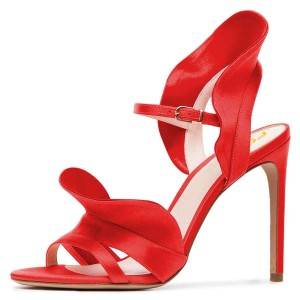 Coral Red Satin Slingback Heels Sandals