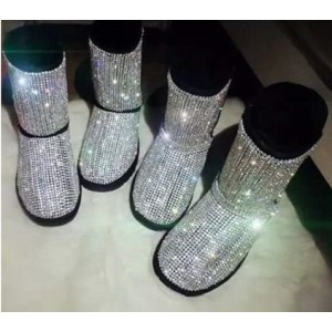 Silver Comfortable Flats Sequined Slip-on Flat Snow Fashion Boots