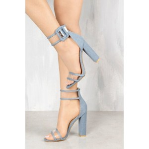Denim Ankle Strap Sandals Open Toe Block Heels Shoes