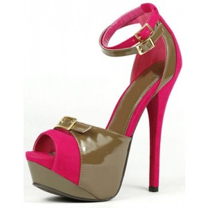 Hot Pink and Brown Ankle Strap Sandals Platform Shoes