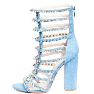 Women's Light Blue Rivets and Rhinestones Embellished Open Toe Sandals
