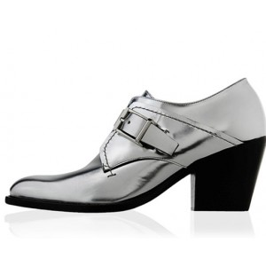 Women's Silver Leather Vintage Round Toe Commuting Oxfords