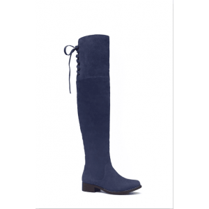 Custom Made Navy Back Lace up Knee Boots