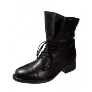 Custom Made Black Round Toe Lace up Short Boots