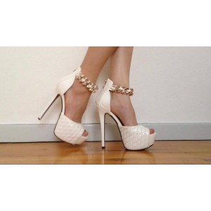Custom Made White Quilted Chain Ankle Strap Sandals