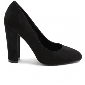 Custom Made Black Suede Chunky Heel Pumps