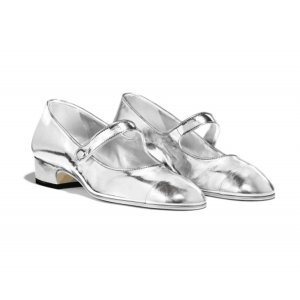 Custom Made Silver Metallic Mary Jane Shoes