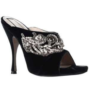Custom Made Black Peep Toe Rhinestone Mules