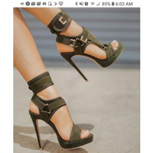 Custom Made Olive High Heel Sandals