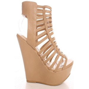 Custom Made Nude High Heel Wedge Sandals