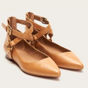 Custom Made Tan Crisscross Strap Flats