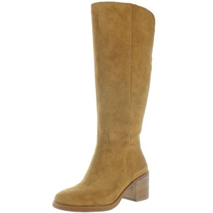 Custom Made Tan Block Heel Suede Boots