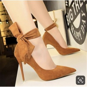 Custom Made Tan Suede Ankle Tie Pumps