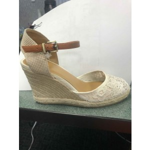 Custom Made White Lace Espadrille Wedges