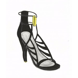 Custom Made Black Open Toe Strappy Sandals