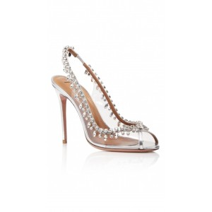 Custom Made Sliver Rhinestone Clear Slingback Pumps