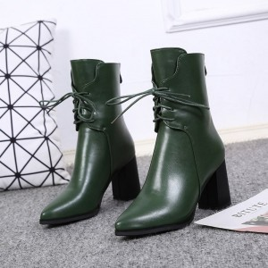 Custom Made Green Chunky Heel Lace up Boots