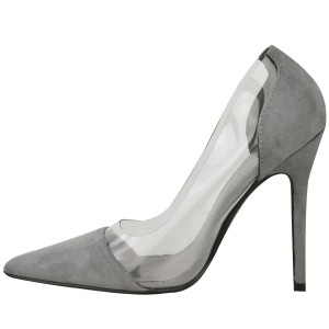 Custom Made Grey Suede and Clear Pumps