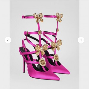 Custom Made Orchid Gold Bow T Strap Heels Pumps