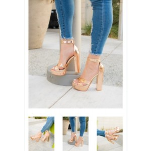 Custom Made Chunky Heel Ankle Strap Sandals in Gold