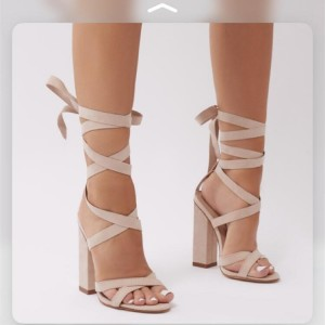 Natural Suede Strappy Chunky Heel Sandals
