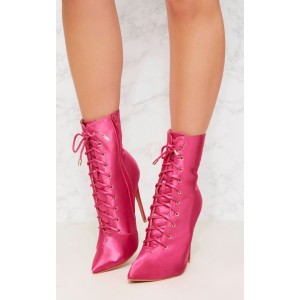 Custom Made Hot Pink Satin Lace up Booties