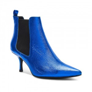 Custom Made Mid Heel Chelsea Boots in Blue