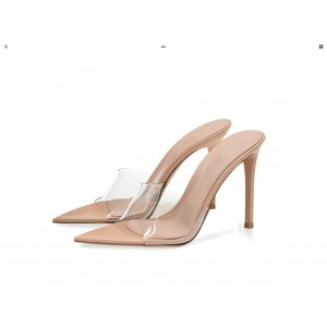 Custom Made Nude and Clear Pointy Toe Mule Heels