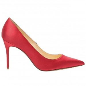 Custom Made Satin Stiletto Heel Pumps in Red