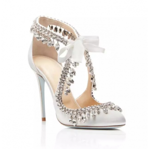 Custom Made White Satin Rhinestone Embellished Tie-Front Sandals
