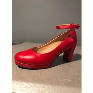 Custom Made Red Chunky Heel Ankle Strap Pumps