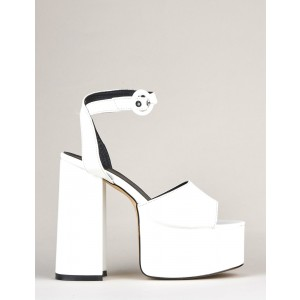 Custom Made White Chunky Heel Ankle Strap Sandals