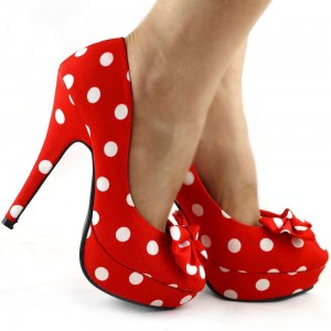 Custom Made Red and White Polka Dot Bow Pumps