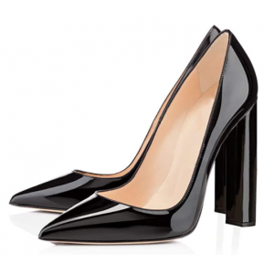 Custom Made Black Patent Leather Pointy Toe Chunky Heel Pumps