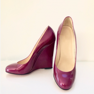 Custom Made Burgundy Patent Leather Wedge Pumps