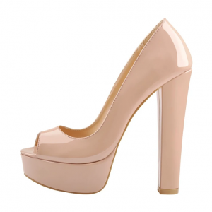 Custom Made Nude Patent Leather Peep Toe Platform Pumps