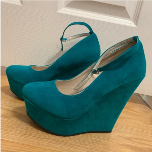 Custom Made Teal Suede Ankle Strap Wedges