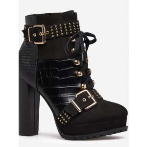 Custom Made Black Suede and Croco Studded Ankle Boots