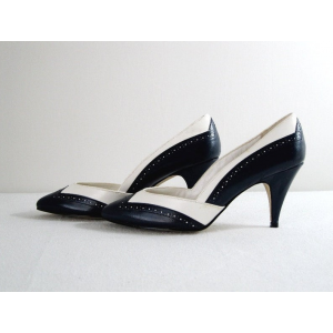 Custom Made Black and White Cone Heel Vintage Shoes