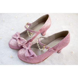 Custom Made Pink Sparkling Mary Jane Shoes