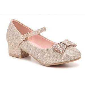 Custom Made Champagne Low Heel Bow Mary Jane Shoes