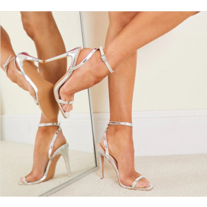 Custom Made Silver Mirror Leather Ankle Strap Sandals