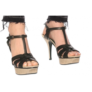 Custom Made Black T Strap Platform Sandals