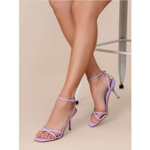 Custom Made Lilac Patent Leather Ankle Strap Sandals