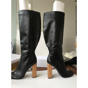 Custom Made Black Calf Length Round Toe High Heel Boots