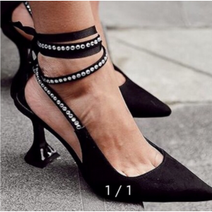 Custom Made Black Suede Ankle Wrapped Rhinestone Pointy Toe Pumps